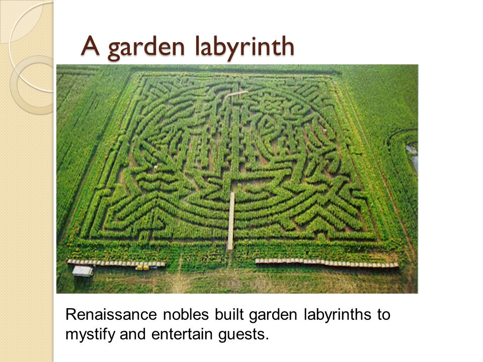 A garden labyrinth Renaissance nobles built garden labyrinths to mystify and entertain guests.