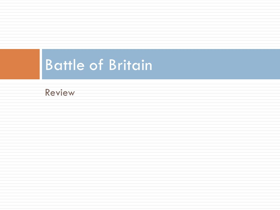 Review Battle of Britain