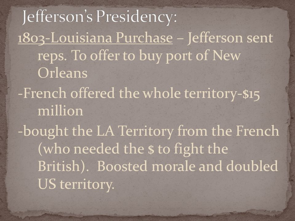 1803-Louisiana Purchase – Jefferson sent reps.