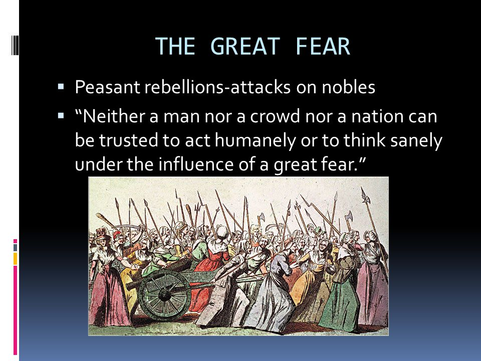 THE GREAT FEAR  Peasant rebellions-attacks on nobles  Neither a man nor a crowd nor a nation can be trusted to act humanely or to think sanely under the influence of a great fear.
