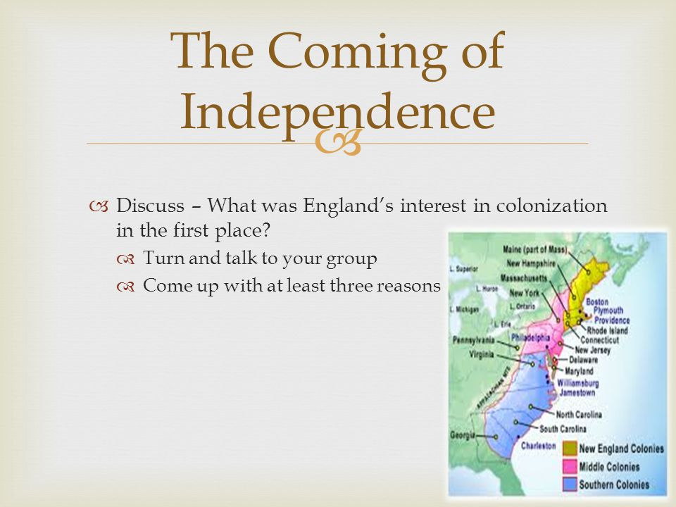   Discuss – What was England's interest in colonization in the first place.