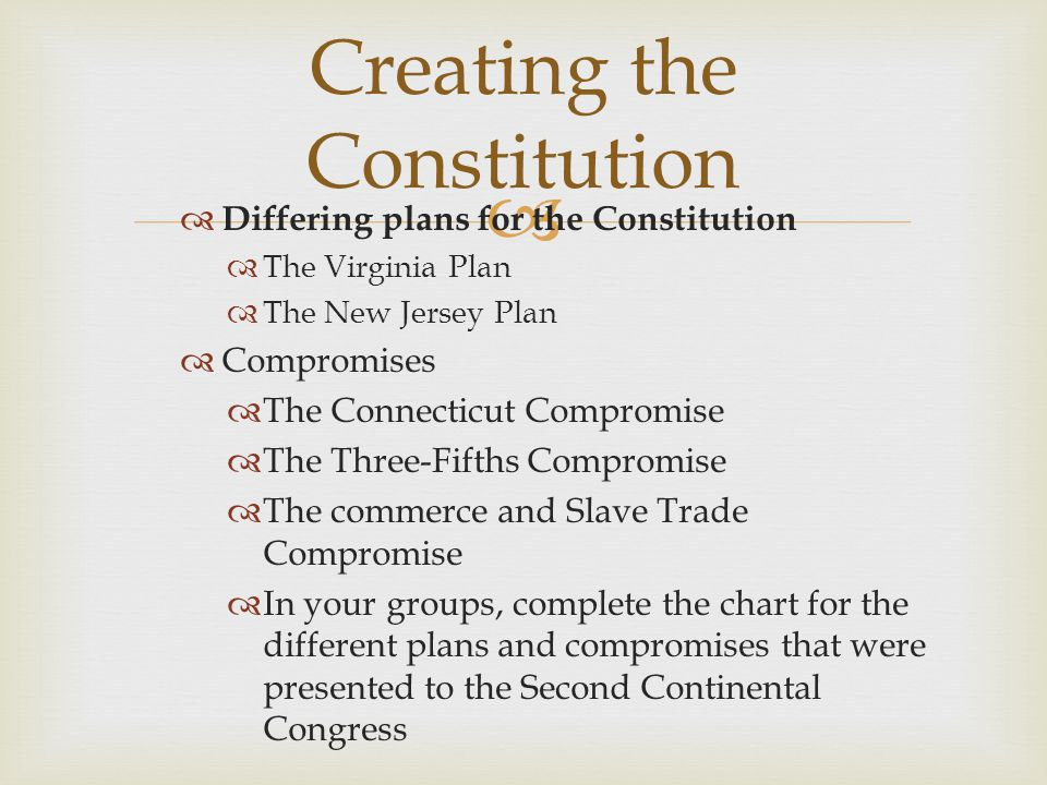   Differing plans for the Constitution  The Virginia Plan  The New Jersey Plan  Compromises  The Connecticut Compromise  The Three-Fifths Compromise  The commerce and Slave Trade Compromise  In your groups, complete the chart for the different plans and compromises that were presented to the Second Continental Congress Creating the Constitution