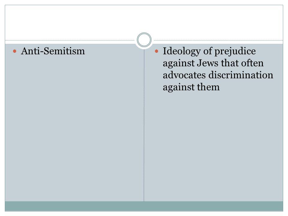 Anti-Semitism Ideology of prejudice against Jews that often advocates discrimination against them