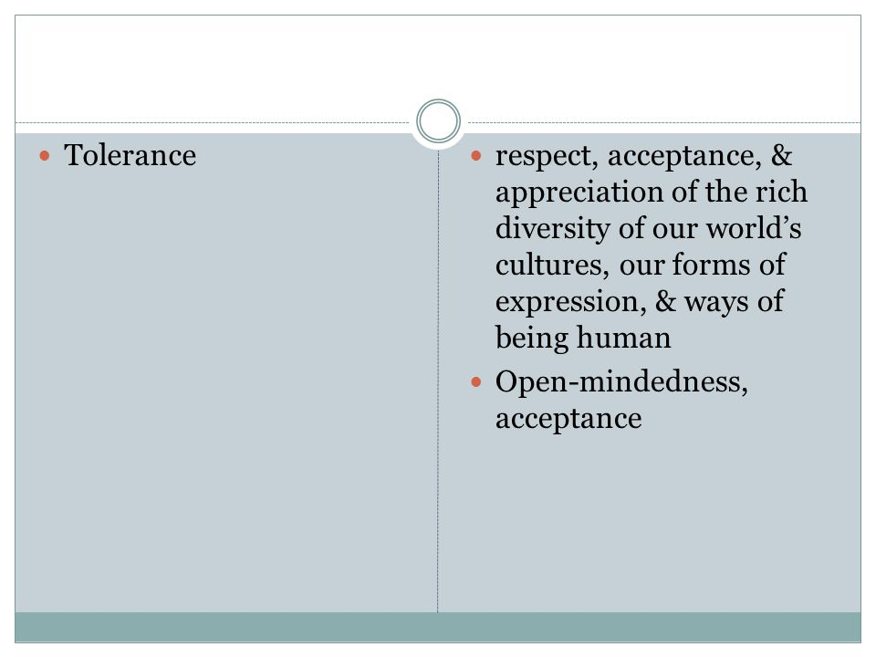 Tolerance respect, acceptance, & appreciation of the rich diversity of our world's cultures, our forms of expression, & ways of being human Open-mindedness, acceptance