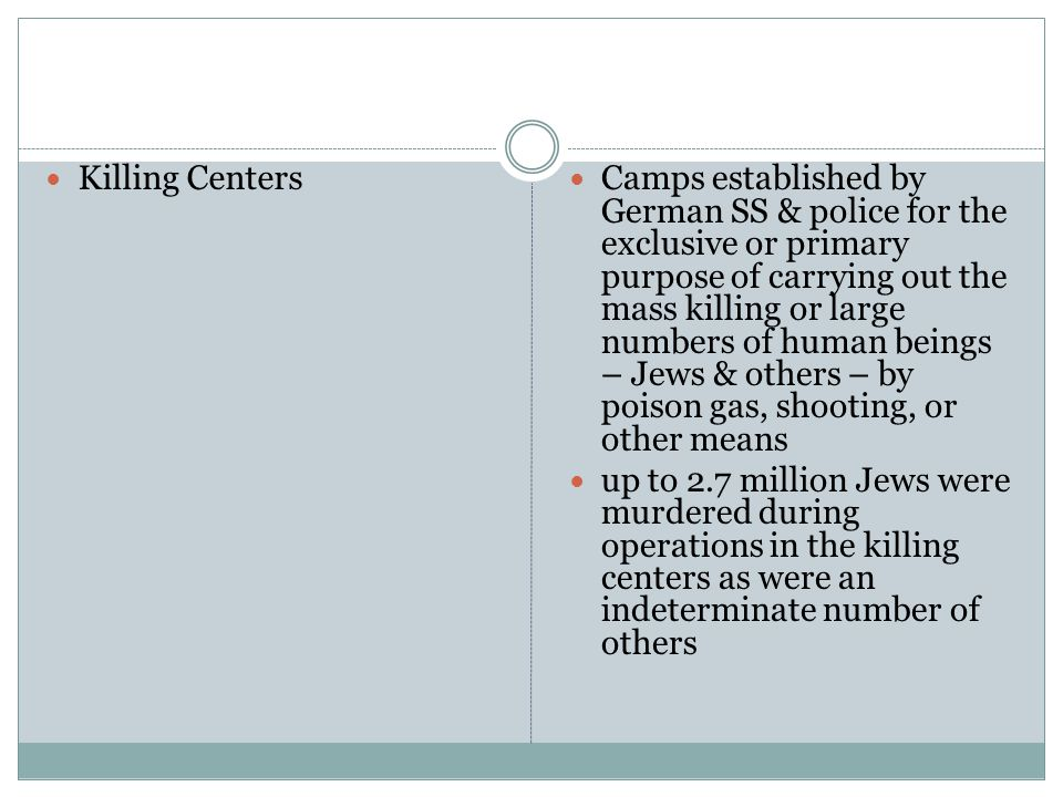 Killing Centers Camps established by German SS & police for the exclusive or primary purpose of carrying out the mass killing or large numbers of human beings – Jews & others – by poison gas, shooting, or other means up to 2.7 million Jews were murdered during operations in the killing centers as were an indeterminate number of others