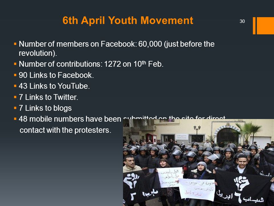 6th April Youth Movement  Number of members on Facebook: 60,000 (just before the revolution).