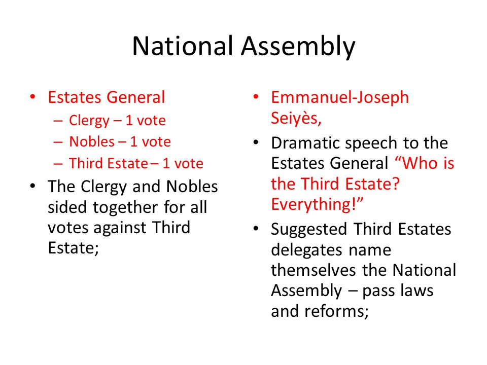 National Assembly Estates General – Clergy – 1 vote – Nobles – 1 vote – Third Estate – 1 vote The Clergy and Nobles sided together for all votes again