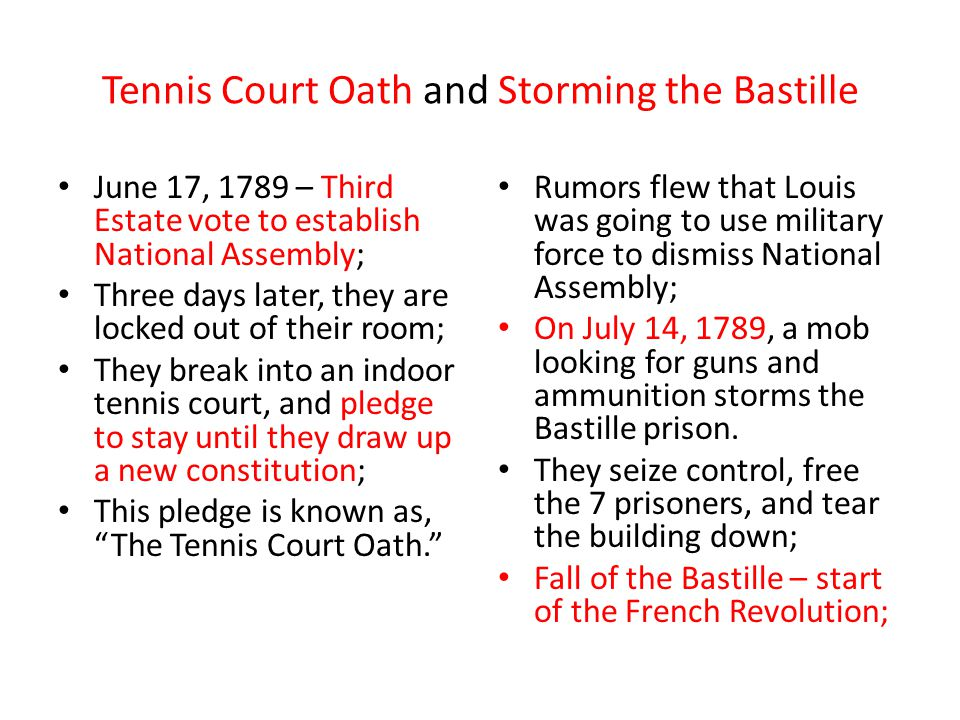 Tennis Court Oath and Storming the Bastille June 17, 1789 – Third Estate vote to establish National Assembly; Three days later, they are locked out of