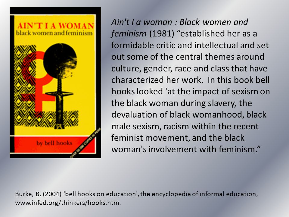 """Ain't I a woman : Black women and feminism (1981) """"established her as a formidable critic and intellectual and set out some of the central themes arou"""