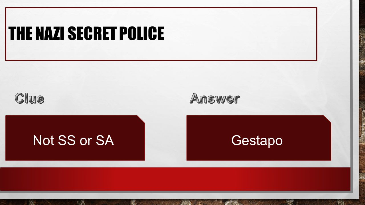 THE NAZI SECRET POLICE Not SS or SAGestapo