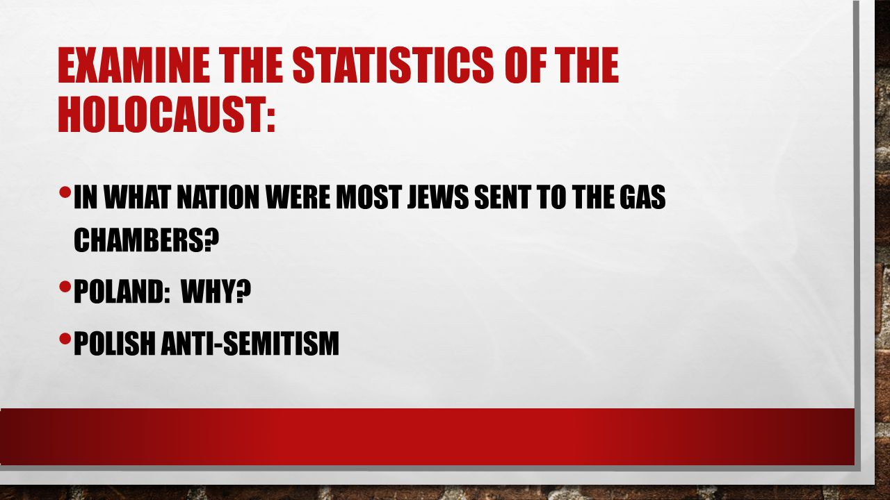 EXAMINE THE STATISTICS OF THE HOLOCAUST: IN WHAT NATION WERE MOST JEWS SENT TO THE GAS CHAMBERS? POLAND: WHY? POLISH ANTI-SEMITISM