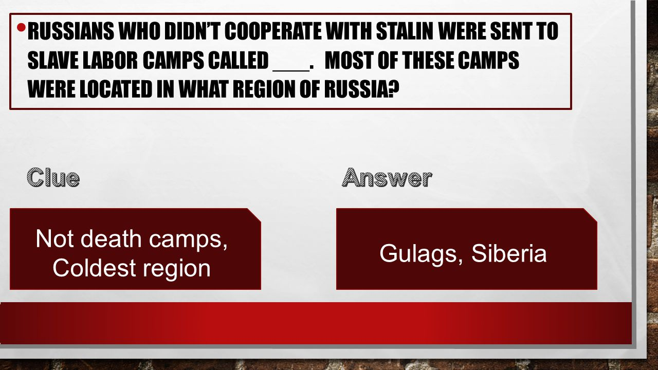 RUSSIANS WHO DIDN'T COOPERATE WITH STALIN WERE SENT TO SLAVE LABOR CAMPS CALLED ___.
