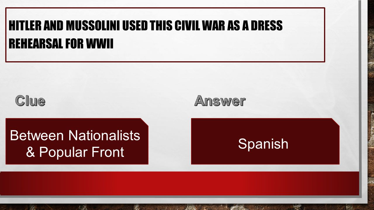 HITLER AND MUSSOLINI USED THIS CIVIL WAR AS A DRESS REHEARSAL FOR WWII Between Nationalists & Popular Front Spanish