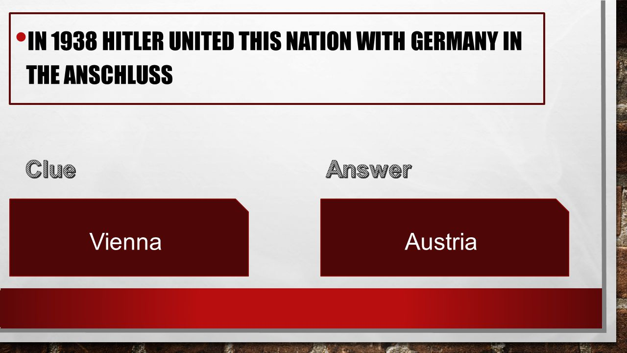 IN 1938 HITLER UNITED THIS NATION WITH GERMANY IN THE ANSCHLUSS ViennaAustria
