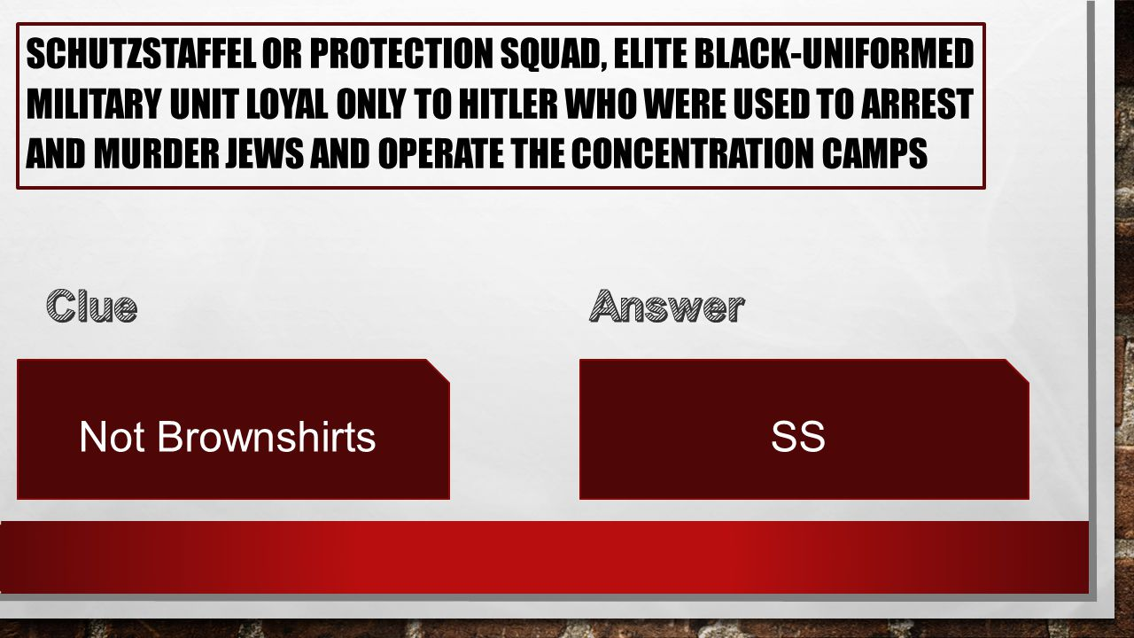 SCHUTZSTAFFEL OR PROTECTION SQUAD, ELITE BLACK-UNIFORMED MILITARY UNIT LOYAL ONLY TO HITLER WHO WERE USED TO ARREST AND MURDER JEWS AND OPERATE THE CONCENTRATION CAMPS Not BrownshirtsSS
