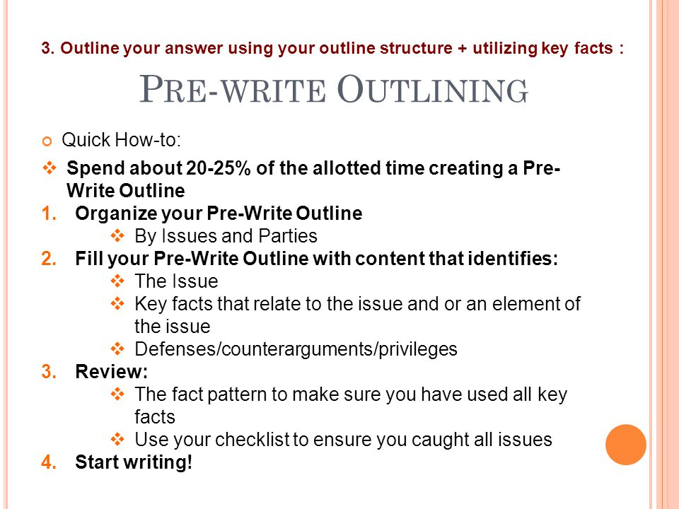 P RE - WRITE O UTLINING Quick How-to: 3. Outline your answer using your outline structure + utilizing key facts :  Spend about 20-25% of the allotted
