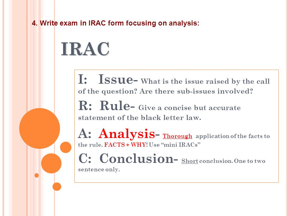 IRAC I: Issue- What is the issue raised by the call of the question? Are there sub-issues involved? R: Rule- Give a concise but accurate statement of