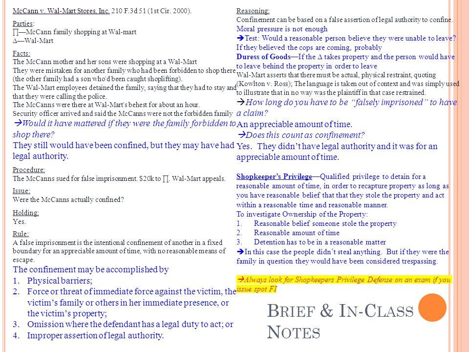 B RIEF & I N -C LASS N OTES McCann v. Wal-Mart Stores, Inc.