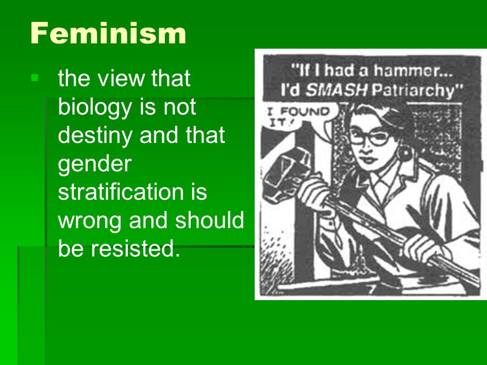 Feminism   the view that biology is not destiny and that gender stratification is wrong and should be resisted.