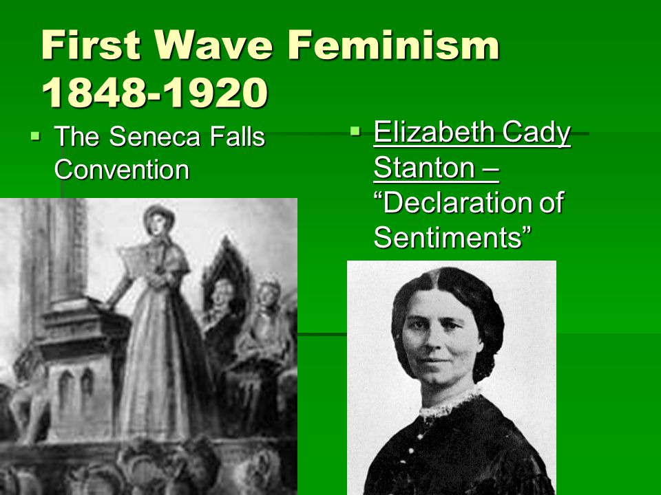 "First Wave Feminism 1848-1920  The Seneca Falls Convention  Elizabeth Cady Stanton – ""Declaration of Sentiments"""