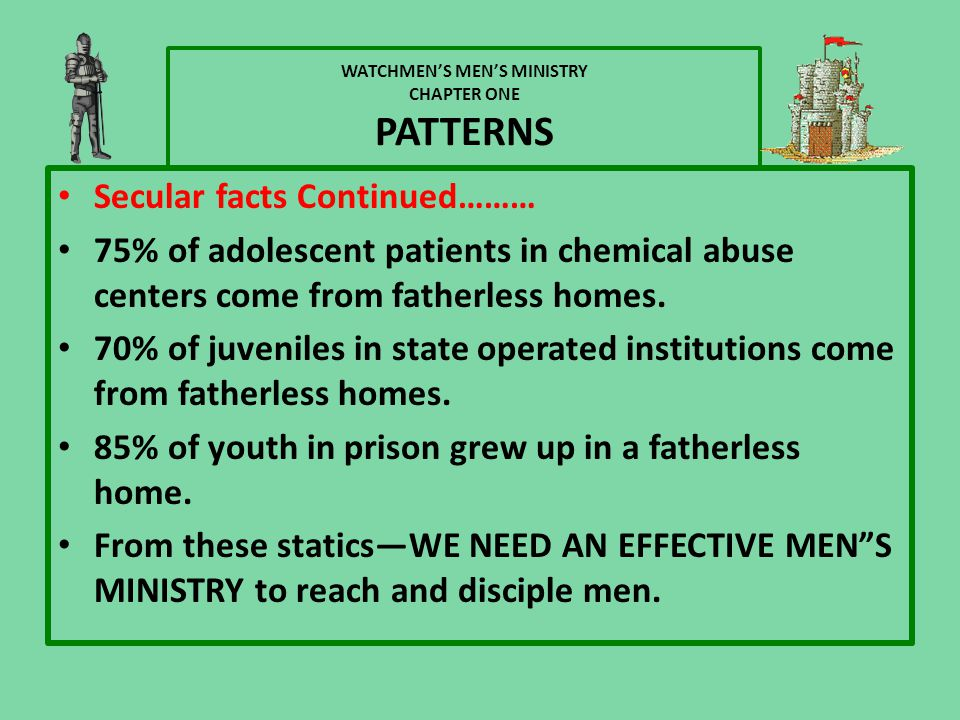 WATCHMEN'S MEN'S MINISTRY CHAPTER ONE PATTERNS Secular facts Continued……… 75% of adolescent patients in chemical abuse centers come from fatherless homes.