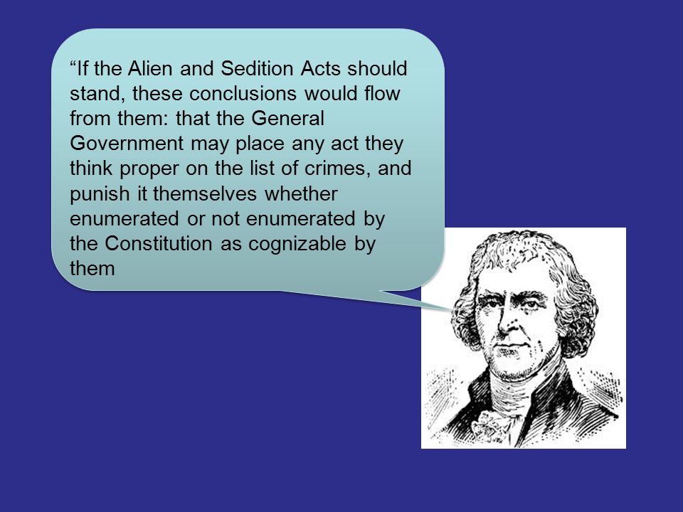 """If the Alien and Sedition Acts should stand, these conclusions would flow from them: that the General Government may place any act they think proper"
