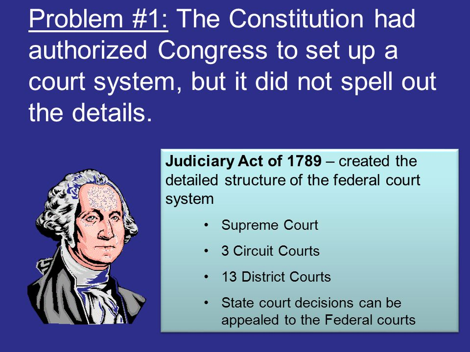Problem #1: The Constitution had authorized Congress to set up a court system, but it did not spell out the details. Judiciary Act of 1789 – created t