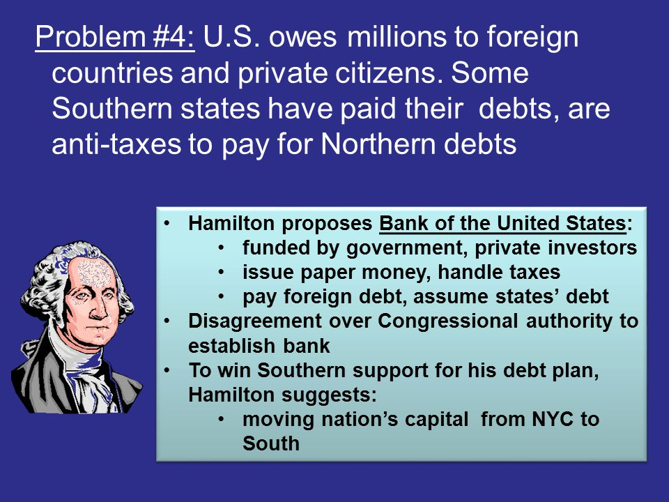 Problem #4: U.S. owes millions to foreign countries and private citizens. Some Southern states have paid their debts, are anti-taxes to pay for Northe