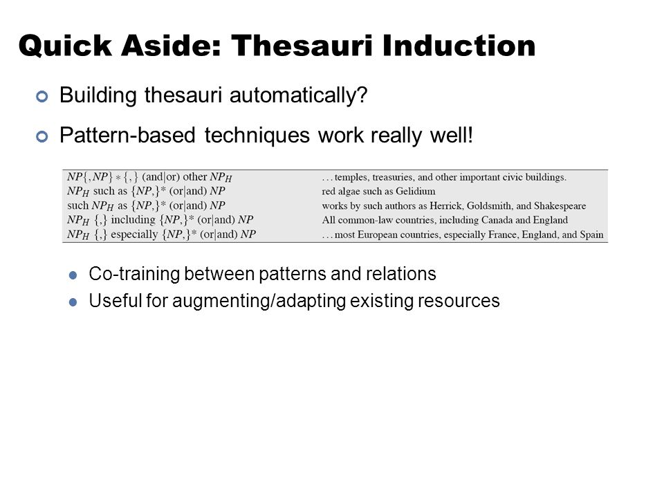 Quick Aside: Thesauri Induction Building thesauri automatically? Pattern-based techniques work really well! Co-training between patterns and relations