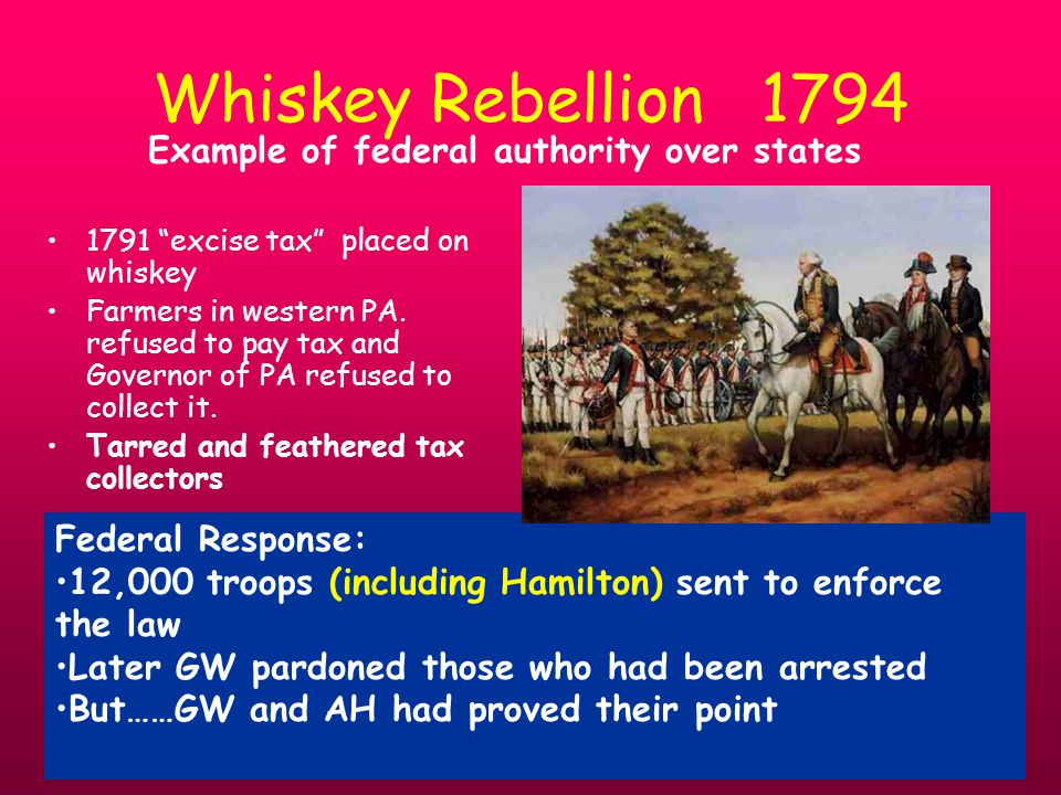 Whiskey Rebellion 1794 1791 excise tax placed on whiskey Farmers in western PA.