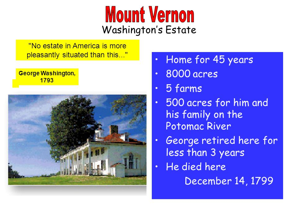 Washington's Estate Home for 45 years 8000 acres 5 farms 500 acres for him and his family on the Potomac River George retired here for less than 3 years He died here December 14, 1799 No estate in America is more pleasantly situated than this... George Washington, 1793