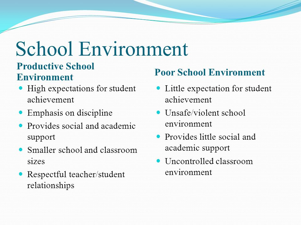 School Environment Productive School Environment Poor School Environment High expectations for student achievement Emphasis on discipline Provides social and academic support Smaller school and classroom sizes Respectful teacher/student relationships Little expectation for student achievement Unsafe/violent school environment Provides little social and academic support Uncontrolled classroom environment
