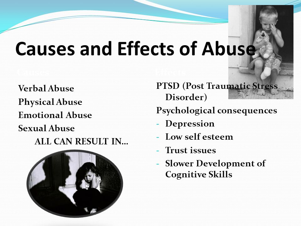 Causes and Effects of Abuse Causes Verbal Abuse Physical Abuse Emotional Abuse Sexual Abuse ALL CAN RESULT IN… Effects PTSD (Post Traumatic Stress Disorder) Psychological consequences - Depression - Low self esteem - Trust issues - Slower Development of Cognitive Skills