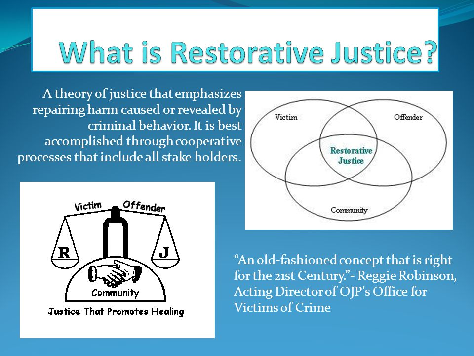 A theory of justice that emphasizes repairing harm caused or revealed by criminal behavior.