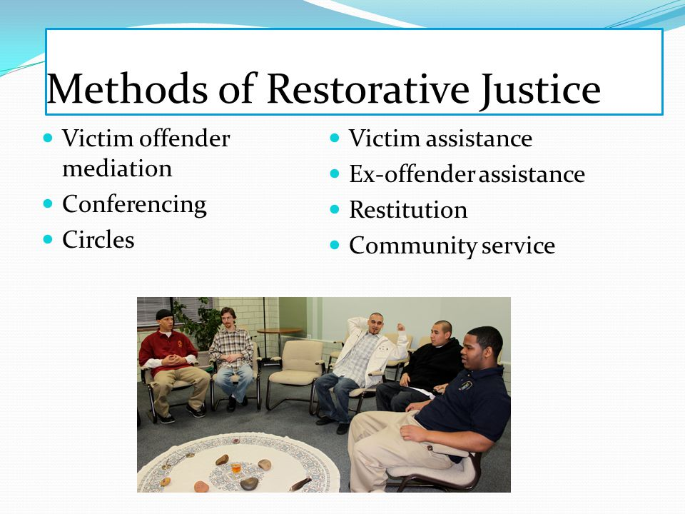 Methods of Restorative Justice Victim offender mediation Conferencing Circles Victim assistance Ex-offender assistance Restitution Community service