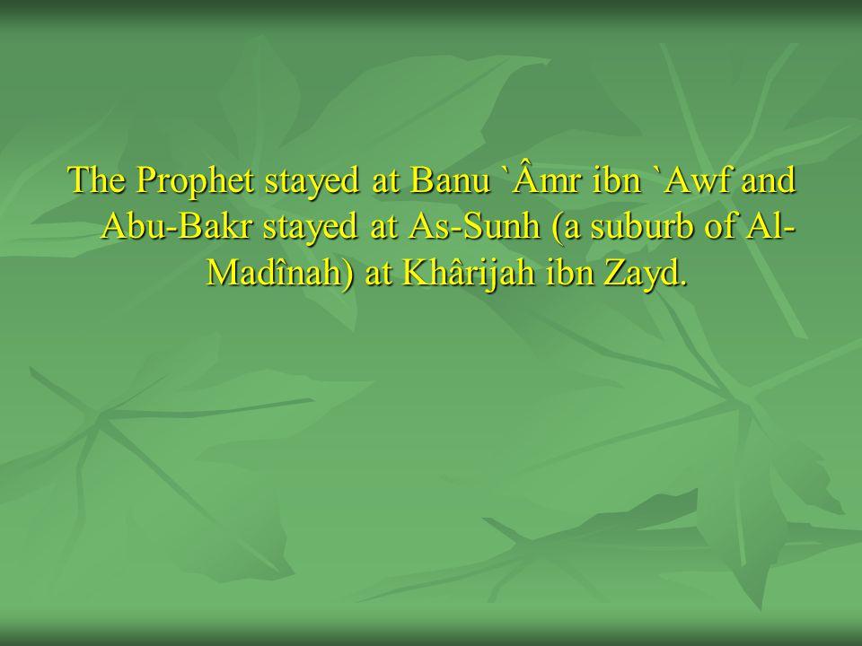 The Prophet stayed at Banu `Âmr ibn `Awf and Abu-Bakr stayed at As-Sunh (a suburb of Al- Madînah) at Khârijah ibn Zayd.