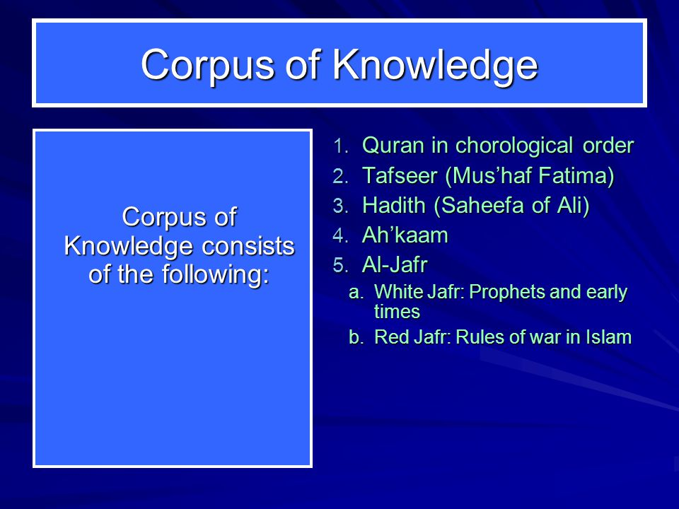 Corpus of Knowledge Corpus of Knowledge consists of the following: 1. Quran in chorological order 2. Tafseer (Mus'haf Fatima) 3. Hadith (Saheefa of Al