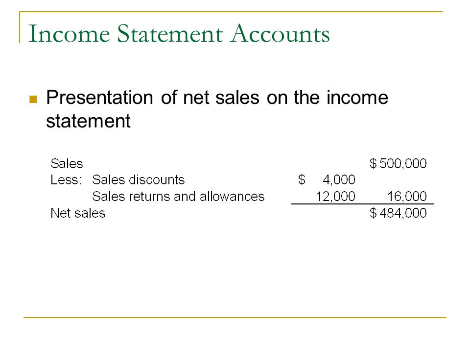 Income Statement Accounts Presentation of net sales on the income statement
