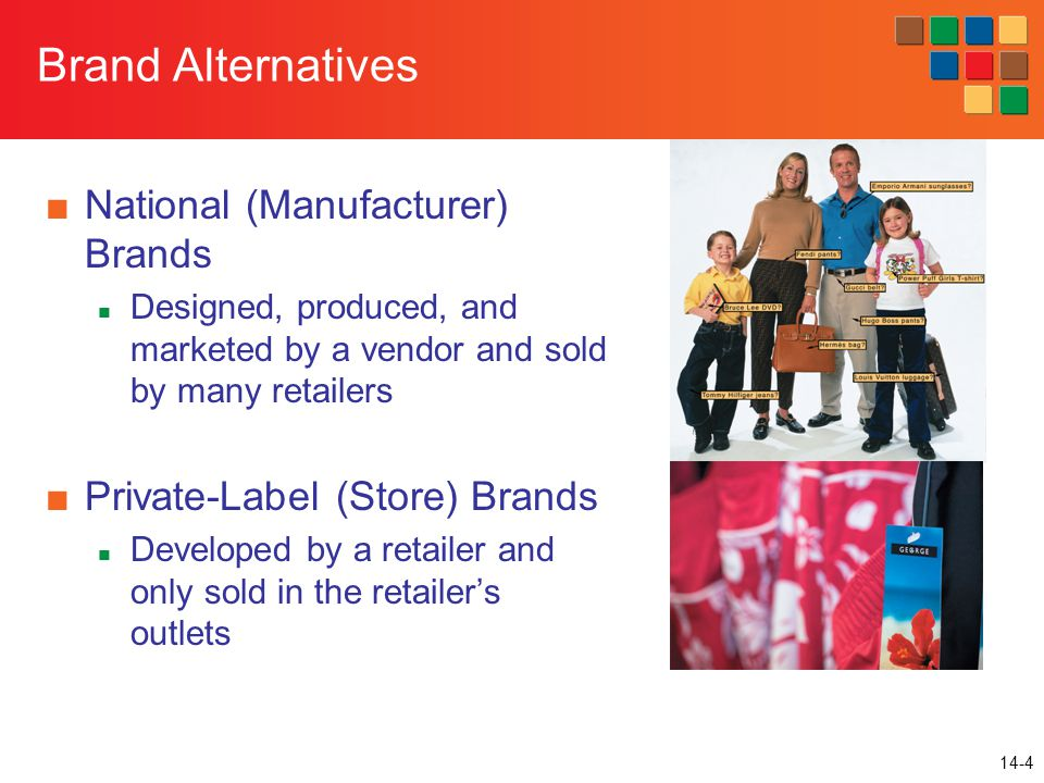 14-4 Brand Alternatives ■National (Manufacturer) Brands Designed, produced, and marketed by a vendor and sold by many retailers ■Private-Label (Store) Brands Developed by a retailer and only sold in the retailer's outlets