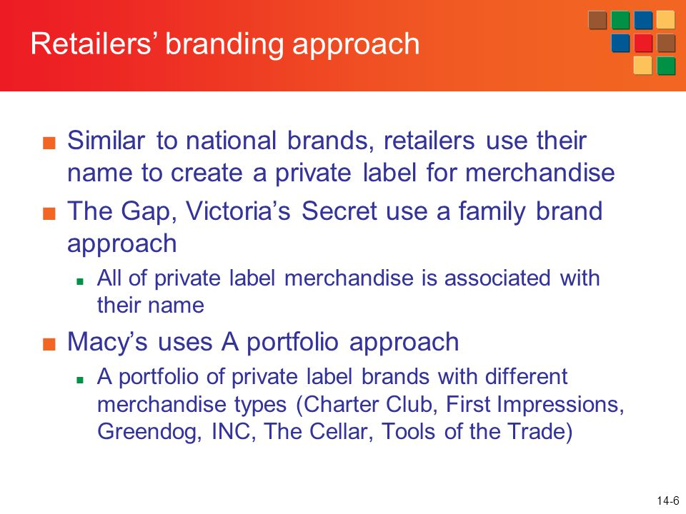 14-6 Retailers' branding approach ■Similar to national brands, retailers use their name to create a private label for merchandise ■The Gap, Victoria's Secret use a family brand approach All of private label merchandise is associated with their name ■Macy's uses A portfolio approach A portfolio of private label brands with different merchandise types (Charter Club, First Impressions, Greendog, INC, The Cellar, Tools of the Trade)