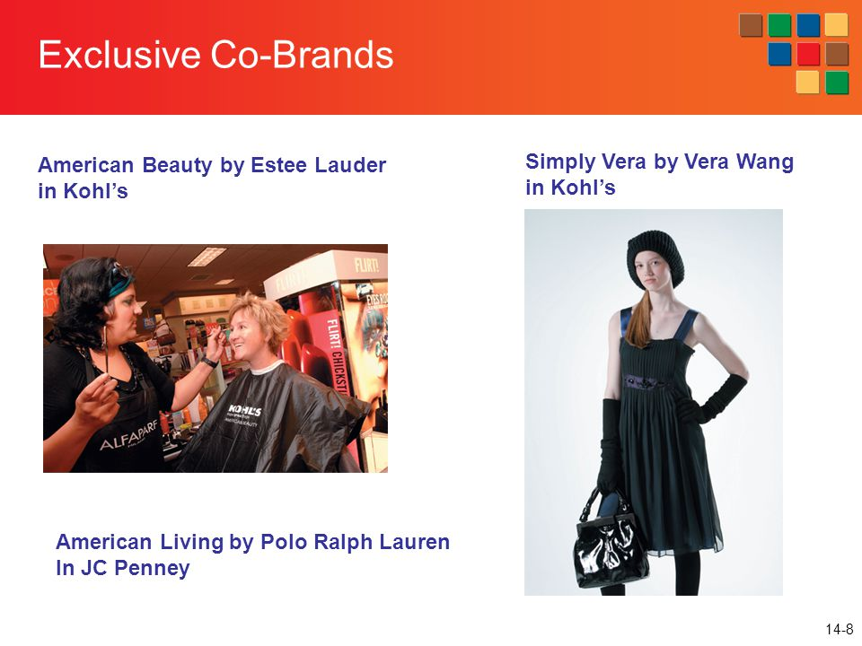 14-8 Exclusive Co-Brands American Living by Polo Ralph Lauren In JC Penney American Beauty by Estee Lauder in Kohl's Simply Vera by Vera Wang in Kohl's