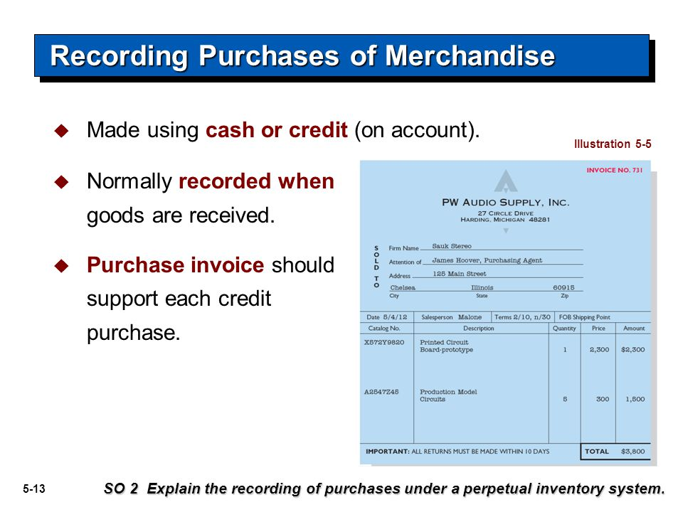 5-13  Made using cash or credit (on account). Recording Purchases of Merchandise SO 2 Explain the recording of purchases under a perpetual inventory