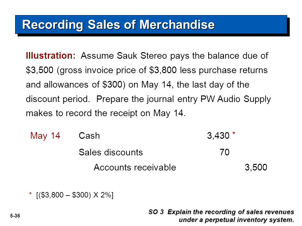 5-36 Recording Sales of Merchandise SO 3 Explain the recording of sales revenues under a perpetual inventory system. Cash3,430May 14 Accounts receivab