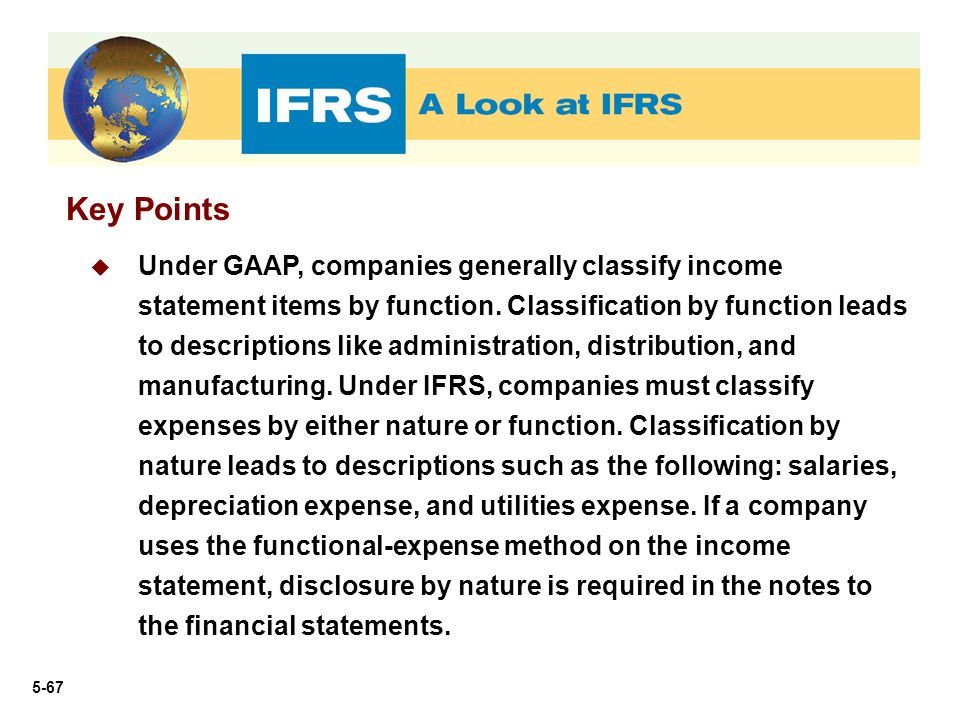 5-67 Key Points  Under GAAP, companies generally classify income statement items by function. Classification by function leads to descriptions like a