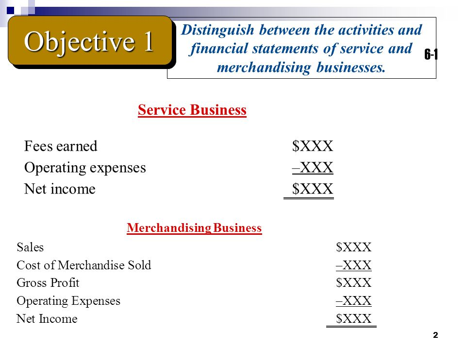 2 Distinguish between the activities and financial statements of service and merchandising businesses.