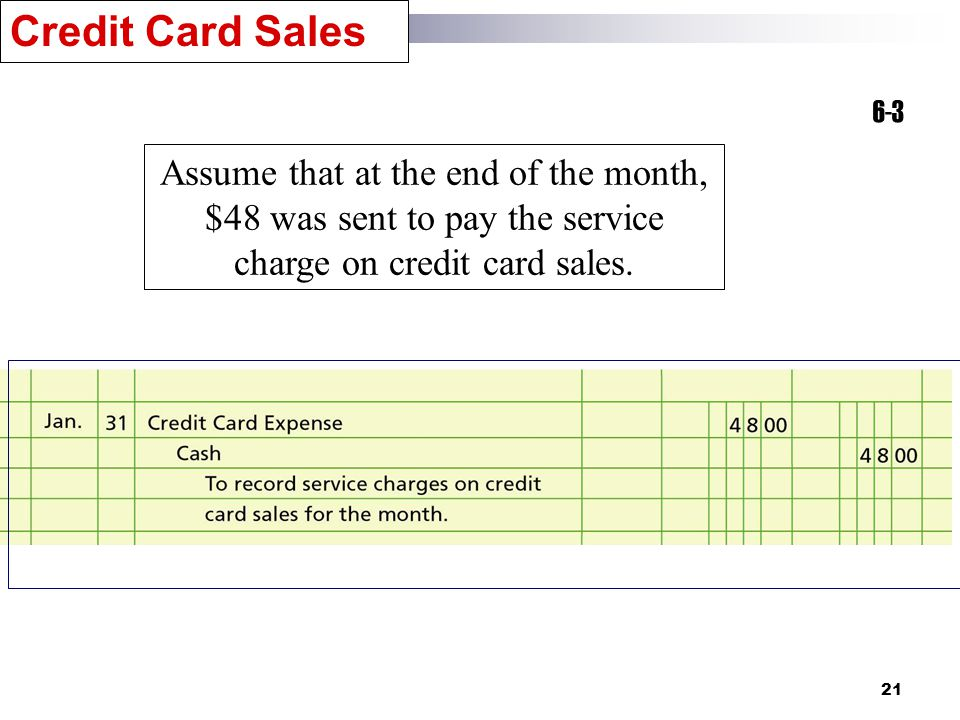 21 6-3 Assume that at the end of the month, $48 was sent to pay the service charge on credit card sales.