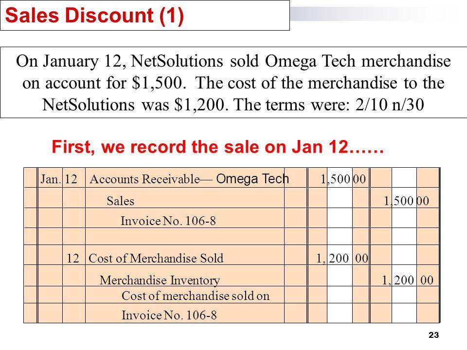 23 Sales Discount (1) Jan. 12Accounts Receivable— Omega Tech 1,500 00 Sales 1,500 00 Invoice No.