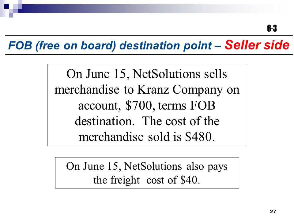 27 On June 15, NetSolutions sells merchandise to Kranz Company on account, $700, terms FOB destination.