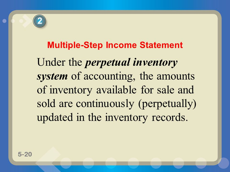 5-20 Under the perpetual inventory system of accounting, the amounts of inventory available for sale and sold are continuously (perpetually) updated i