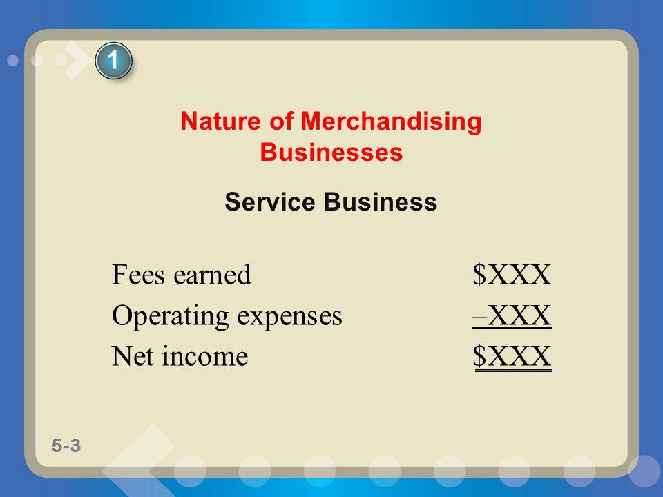 5-4 Merchandising Business Sales$XXX Cost of Merchandise Sold–XXX Gross Profit$XXX Operating Expenses–XXX Net Income$XXX Nature of Merchandising Businesses 1